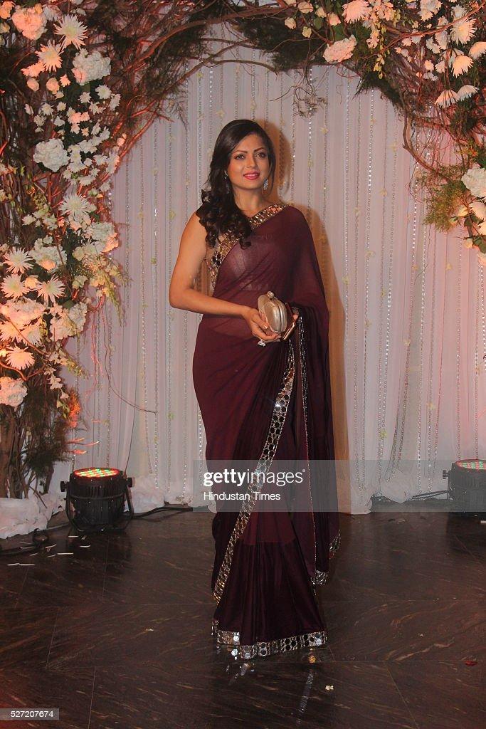 TV actor Drishti Dhami at wedding reception of couple Bipasha Basu and Karan Singh on April 30 2016 in Mumbai India Bipasha Basu got married to Karan.