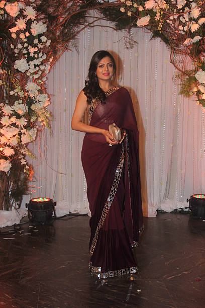TV actor Drishti Dhami at wedding reception of couple Bipasha Basu and Karan Singh on April 30 2016 in Mumbai India Bipasha Basu got married to Karan.