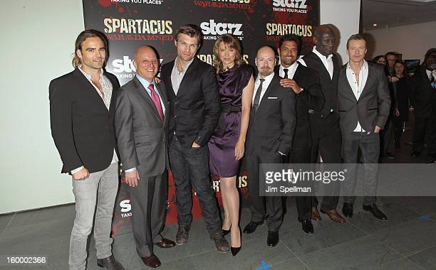 Actor Dustin Clare CEO of Starz LLC Liberty Media Corp Chris Albrecht actors Liam McIntyre Lucy Lawless and Show creator Steven DeKnight actor Manu...