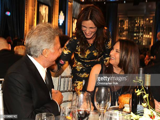 Actor Dustin Hoffman, actress Julia Roberts and Lisa Hoffman in the audience during the 38th AFI Life Achievement Award honoring Mike Nichols held at...