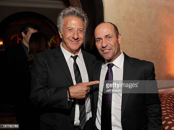 Actor Dustin Hoffman and jockey Gary Stevens attend the premiere of HBO's Luck after party held at the Roosevelt Hotel on January 25 2012 in...