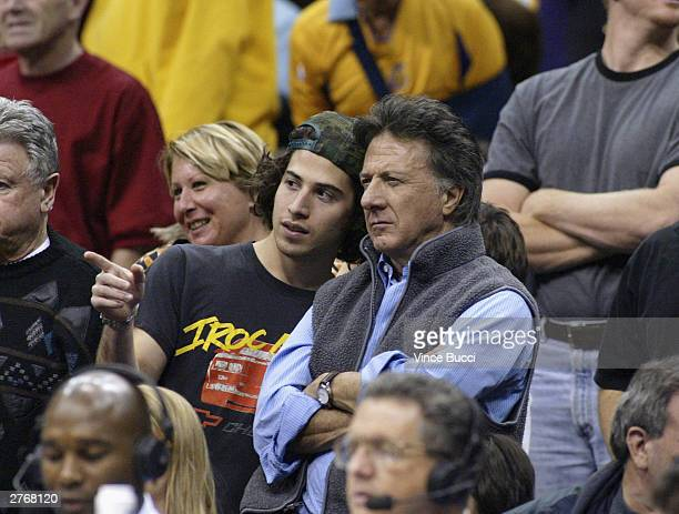 Actor Dustin Hoffman and son attend the game between the Los Angeles Lakers and the San Antonio Spurs on November 28, 2003 at the Staples Center in...