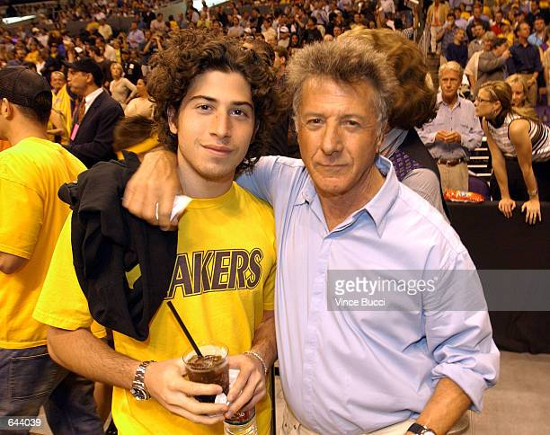 Actor Dustin Hoffman and son, Max attend Game 1 of the NBA Finals between the Los Angeles Lakers and the New Jersey Nets June 5, 2002 at Staples...
