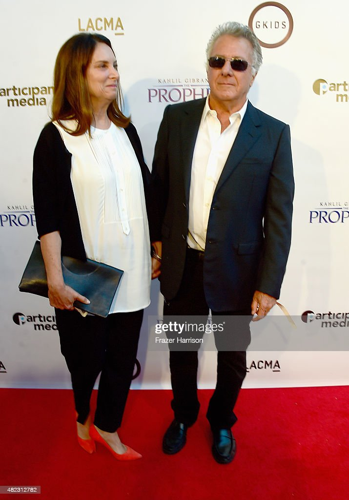 Actor Dustin Hoffman and wife Lisa Gottsegen arrive at the Screening of GKIDS' 'Kahlil Gibran's The Prophet' at Bing Theatre At LACMA on July 29, 2015 in Los Angeles, California.