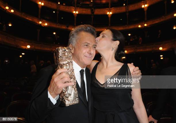 Actor Dustin Hoffman and wife Lisa reacts after he received a Cesar Award during the show at the Cesar Film Awards held at the Chatelet Theater on...