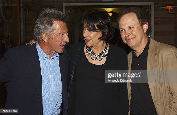 Actor Dustin Hoffman chats with Gala CoChairman Hanna Kennedy and actor Billy Crystal at the 15th Anniversary of the Los Angeles Chamber Orchestra's...