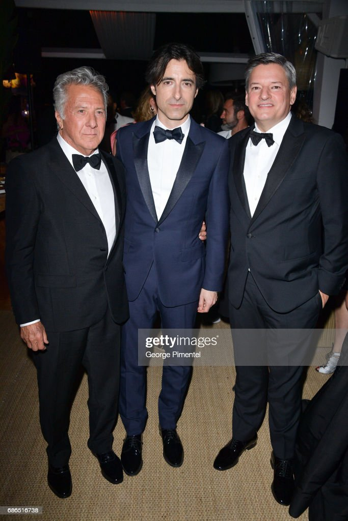 Actor Dustin Hoffman, director Noah Baumbach,chief content officer of Netflix Ted Sarandos attends the Hollywood Foreign Press Association's 2017 Cannes Film Festival Event in honour of the International Rescue Committee during the 70th Annual Cannes Film Festival on May 21, 2017 in Cannes, France.