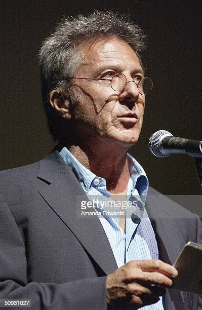 Actor Dustin Hoffman gives a speech at the 15th Anniversary of the Los Angeles Chamber Orchestra's Silent Film Festival on June 5 2004 at UCLA's...