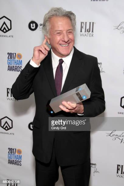 Actor Dustin Hoffman poses with his award backstage during IFP's 27th Annual Gotham Independent Film Awards on November 27 2017 in New York City