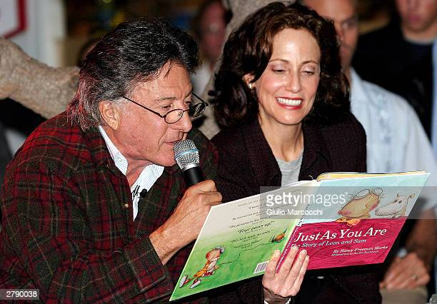 Actor Dustin Hoffman reads 'Just As You Are' by Nancy Freeman Marks on December 6, 2003 in Brentwood, California.