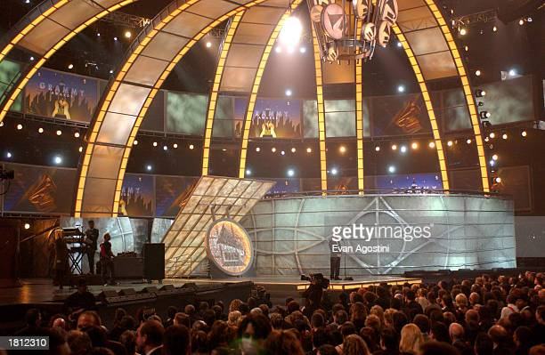 Actor Dustin Hoffman speaks on stage during the 45th Annual Grammy Awards at Madison Square Garden on February 23 2003 in New York City