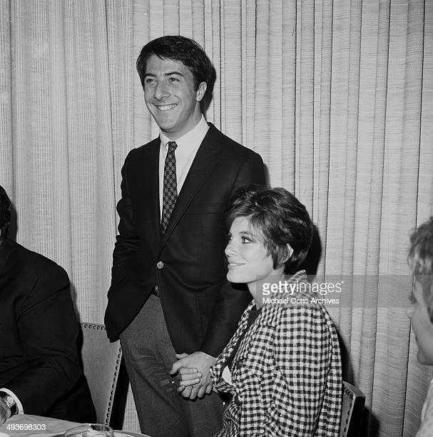 Actor Dustin Hoffman with actress Katharine Ross in Los Angeles, California.