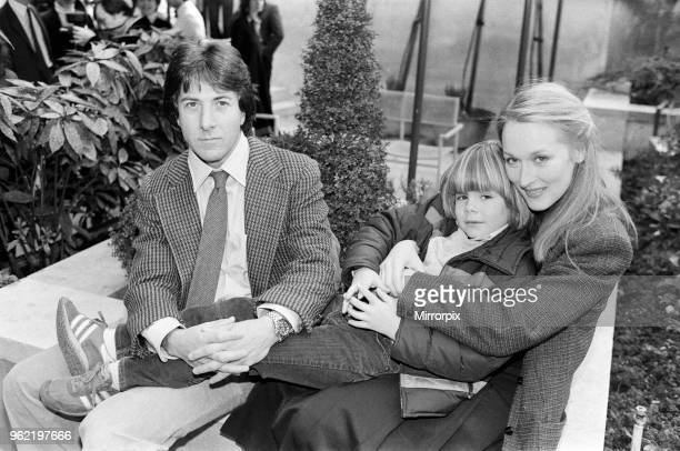 Actor Dustin Hoffman with actress Meryl Streep and young Justin Henry who all star together in the film 'Kramer vs Kramer'. March 1980.