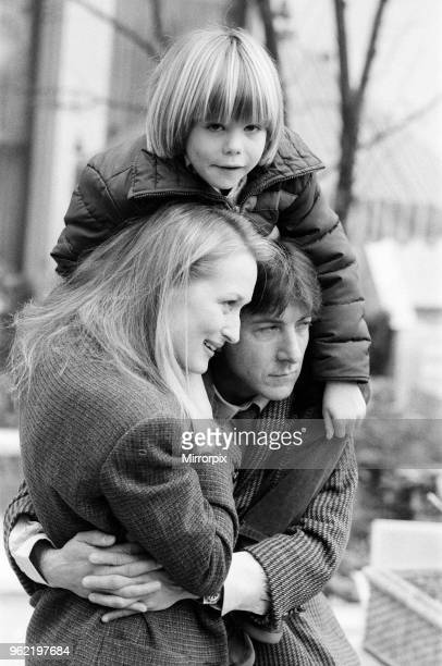 Actor Dustin Hoffman with actress Meryl Streep and young Justin Henry who all star together in the film 'Kramer vs Kramer' March 1980