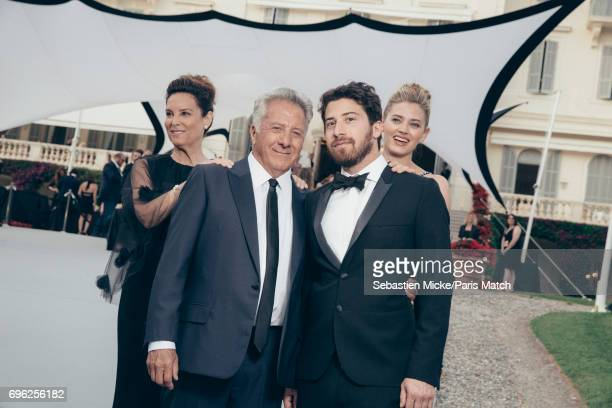 Actor Dustin Hoffman with his wife Lisa and son Jake with girlfriend Jenna Kelly are photographed for Paris Match whilst attending the Amfar Gala at...