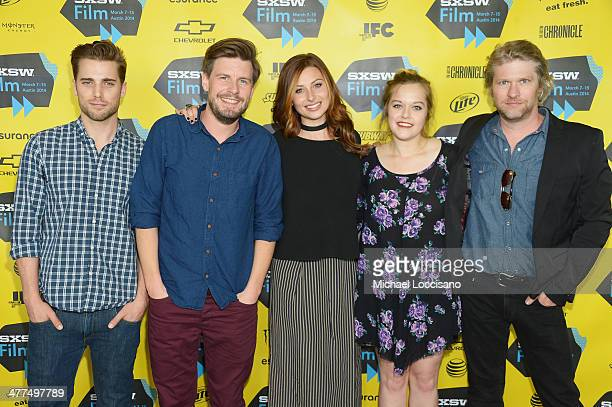 Actor Dustin Milligan director Andy Landen and actors Aly Michalka Sophi Bairley and Todd Lowe attend the Sequoia premiere during the 2014 SXSW Music...