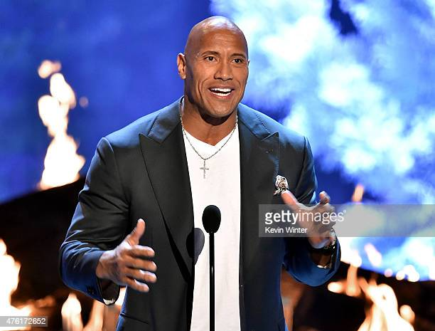 Actor Dwayne Johnson accepts the Troops' Choice award onstage during Spike TV's Guys Choice 2015 at Sony Pictures Studios on June 6 2015 in Culver...