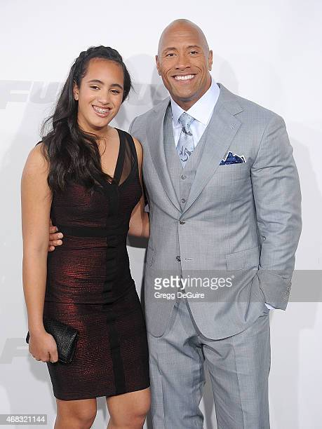 Actor Dwayne Johnson and daughter Simone Alexandra Johnson arrive at the Los Angeles premiere of 'Furious 7' at TCL Chinese Theatre IMAX on April 1...