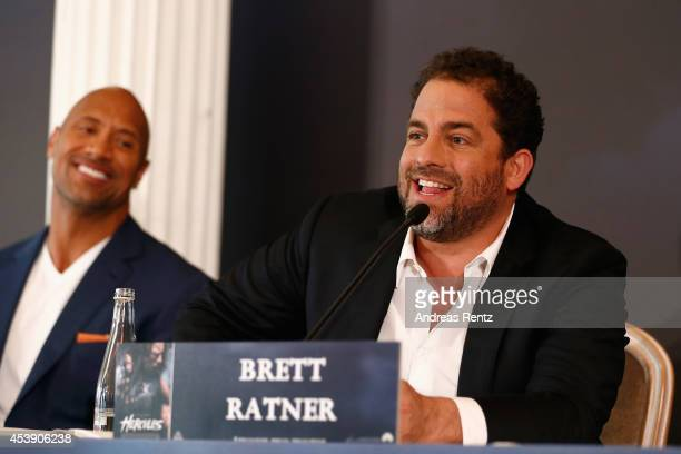 Actor Dwayne Johnson and director Brett Ratner attend the press conference of Paramount Pictures 'HERCULES' at Hotel Adlon on August 21, 2014 in...