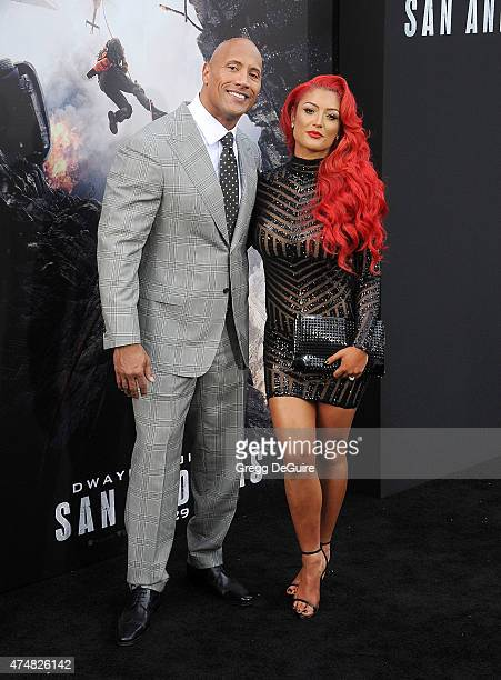 Actor Dwayne Johnson and Eva Marie arrive at the Los Angeles premiere of 'San Andreas' at TCL Chinese Theatre IMAX on May 26 2015 in Hollywood...