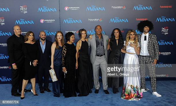 Actor Dwayne Johnson and family arrive for the AFI FEST 2016 Presented By Audi Premiere Of Disney's 'Moana' held at the El Capitan Theatre on...