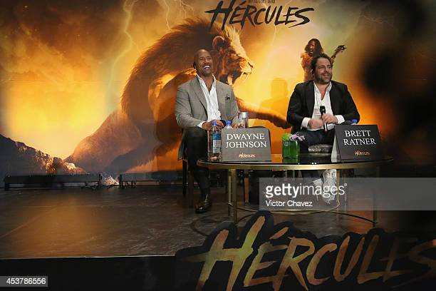 Actor Dwayne Johnson and Film Director Brett Ratner attend the Press Conference of Paramount Pictures 'Hercules' at Hotel St Regis on August 18 2014...