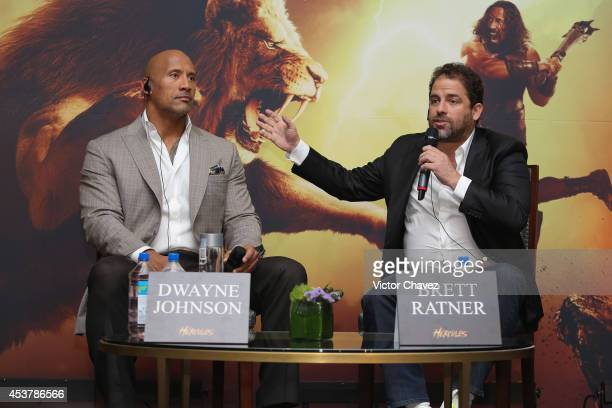Actor Dwayne Johnson and Film Director Brett Ratner attend the Press Conference of Paramount Pictures Hercules at Hotel St Regis on August 18 2014 in...