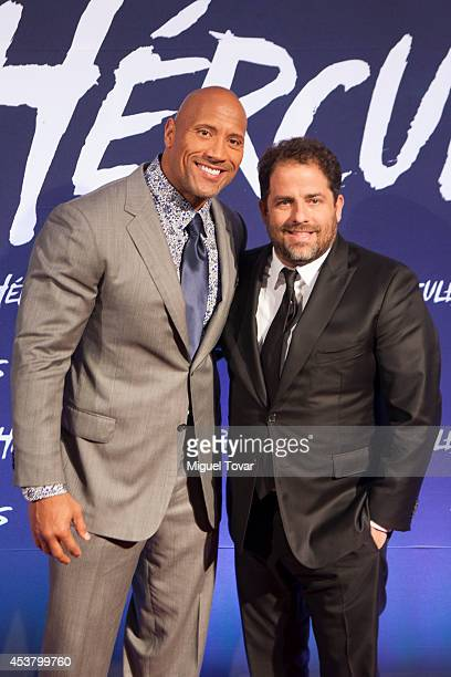 Actor Dwayne Johnson and Film Director Brett Ratner pose for pictures during the red carpet of Paramount Pictures 'Hercules' at Antara shopping mall...