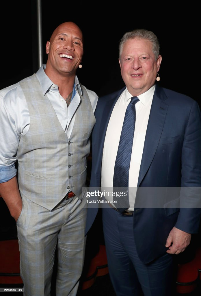 Actor Dwayne Johnson (L) and Former Vice President of the United States, Al Gore at CinemaCon 2017 Paramount Pictures Presentation Highlighting Its Summer of 2017 and Beyond at The Colosseum at Caesars Palace during CinemaCon, the official convention of the National Association of Theatre Owners, on March 28, 2017 in Las Vegas, Nevada.