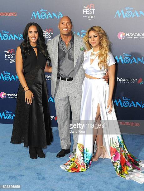 Actor Dwayne Johnson and his daughter Simone Alexandra Johnson and singer Dinah Jane Hansen of Fifth Harmony attend AFI FEST 2016 Presented By Audi...
