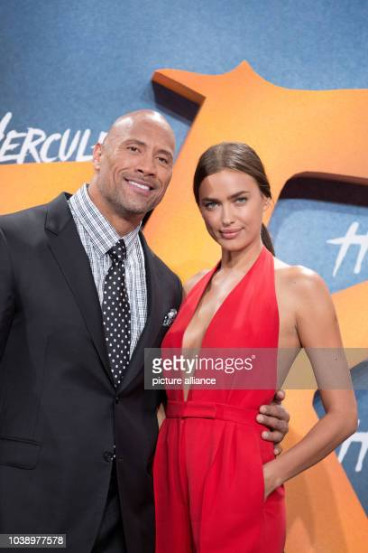 """Actor Dwayne Johnson and Irina Shayk arrive to the European Premiere of the movie """"Hercules"""" at Cinestar in Berlin, Germany, 21 August 2014. The..."""