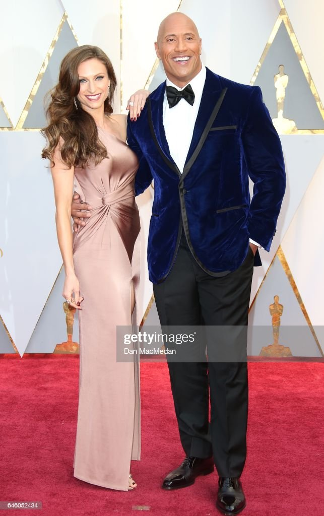 Actor Dwayne Johnson (R) and Lauren Hashian arrive at the 89th Annual Academy Awards at Hollywood & Highland Center on February 26, 2017 in Hollywood, California.
