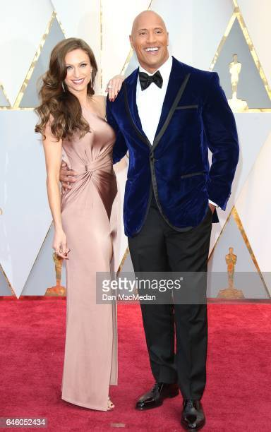 Actor Dwayne Johnson and Lauren Hashian arrive at the 89th Annual Academy Awards at Hollywood & Highland Center on February 26, 2017 in Hollywood,...