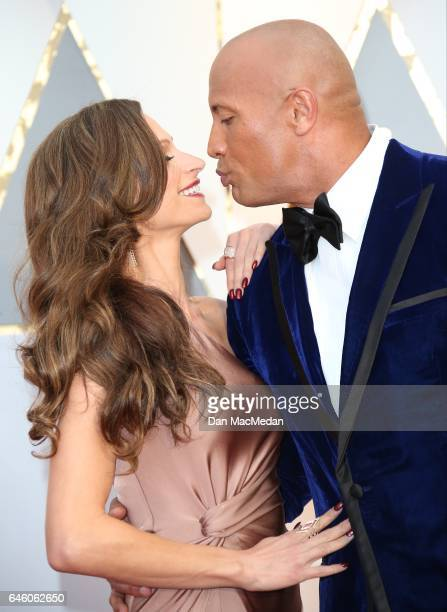 Actor Dwayne Johnson and Lauren Hashian arrive at the 89th Annual Academy Awards at Hollywood Highland Center on February 26 2017 in Hollywood...