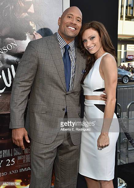 "Actor Dwayne Johnson and Lauren Hashian arrive to the premiere of Paramount Pictures' ""Hercules"" at the TCL Chinese Theatre on July 23, 2014 in..."