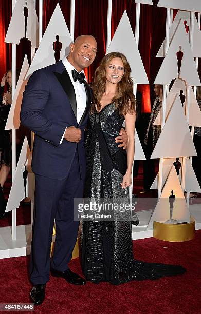 Actor Dwayne Johnson and Lauren Hashian attend the 87th Annual Academy Awards at Hollywood & Highland Center on February 22, 2015 in Hollywood,...