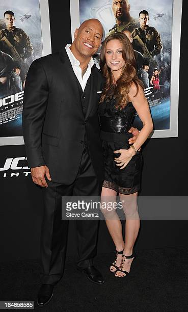 "Actor Dwayne Johnson and Lauren Hashian attend the ""G.I. Joe: Retaliation"" Los Angeles Premiere at TCL Chinese Theatre on March 28, 2013 in..."