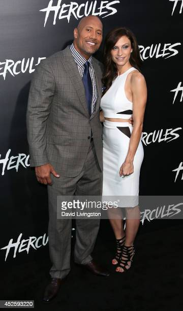 "Actor Dwayne Johnson and Lauren Hashian attend the premiere of Paramount Pictures' ""Hercules"" at the TCL Chinese Theatre on July 23, 2014 in..."