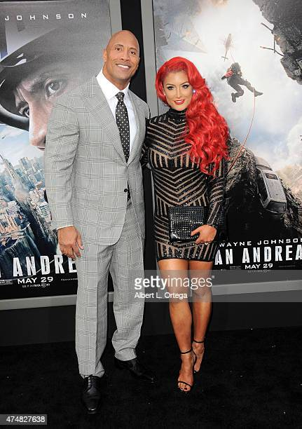 Actor Dwayne Johnson and model/TV personality Eva Marie arrive for the Premiere Of Warner Bros Pictures' 'San Andreas' held at TCL Chinese Theatre on...