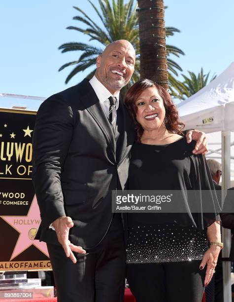 Actor Dwayne Johnson and mom Ata Johnson attend the ceremony honoring Dwayne Johnson with star on the Hollywood Walk of Fame on December 13 2017 in...