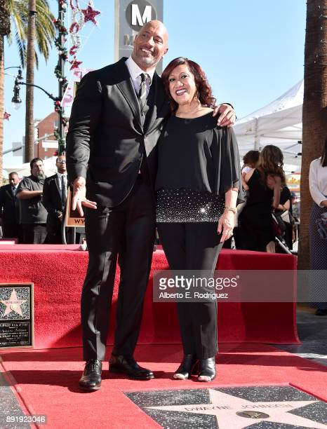 Actor Dwayne Johnson and mother Ata Johnson attend a ceremony honoring Dwayne Johnson with the 2624th star on the Hollywood Walk of Fame on December...