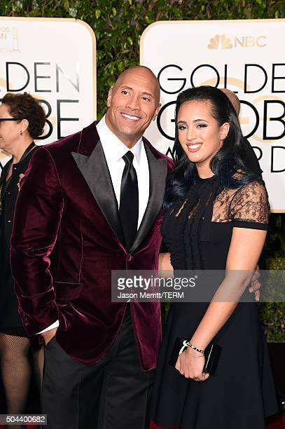 Actor Dwayne Johnson and Simone Alexandra Johnson attend the 73rd Annual Golden Globe Awards held at the Beverly Hilton Hotel on January 10 2016 in...