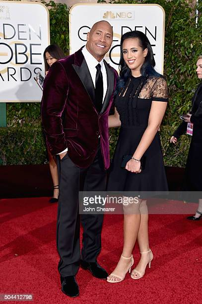 Actor Dwayne Johnson and Simone Alexandra Johnson attends the 73rd Annual Golden Globe Awards held at the Beverly Hilton Hotel on January 10 2016 in...