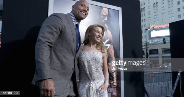 Actor Dwayne Johnson and singer Kylie Minogue attend the Los Angeles premiere of Hercules at TCL Chinese Theatre on July 23 2014 in Hollywood...