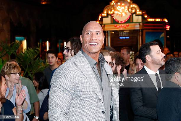 Actor Dwayne Johnson and TV personality Jimmy Kimmel attend the world premiere of Disney's 'Moana' at the El Capitan Theatre on November 14 2016 in...