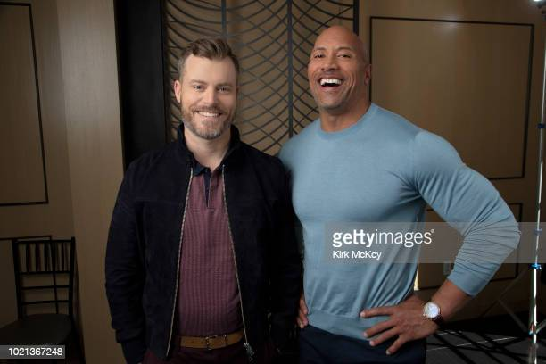 Actor Dwayne Johnson and writer/director Rawson Marshall Thurber are photographed for Los Angeles Times on June 13 2018 in Bel Air California...