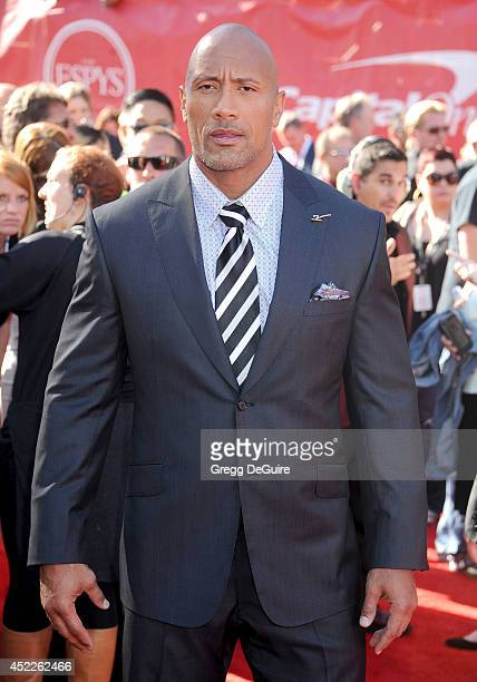 Actor Dwayne Johnson arrives at the 2014 ESPY Awards at Nokia Theatre LA Live on July 16 2014 in Los Angeles California