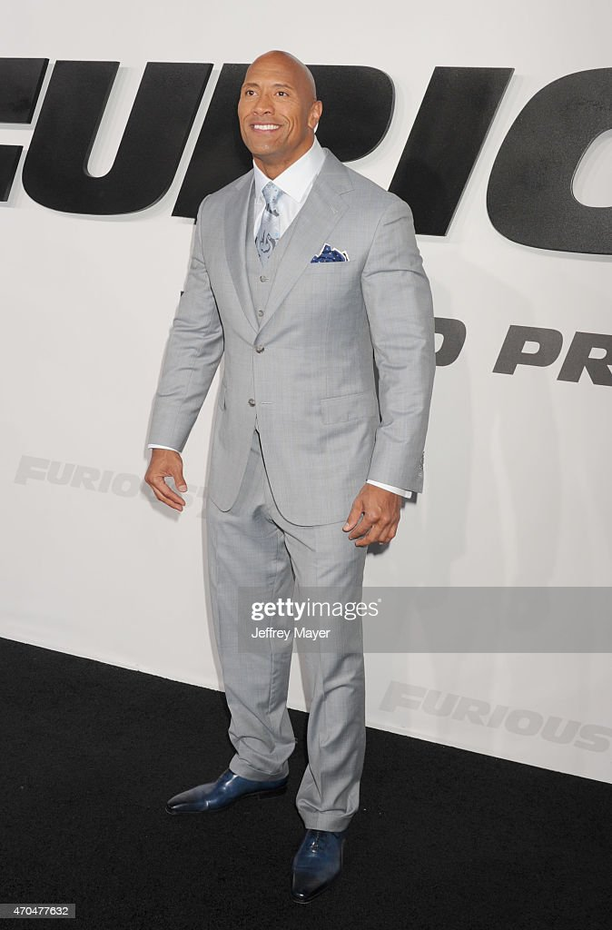 Actor Dwayne Johnson arrives at the 'Furious 7' - Los Angeles Premiere at TCL Chinese Theatre IMAX on April 1, 2015 in Hollywood, California.
