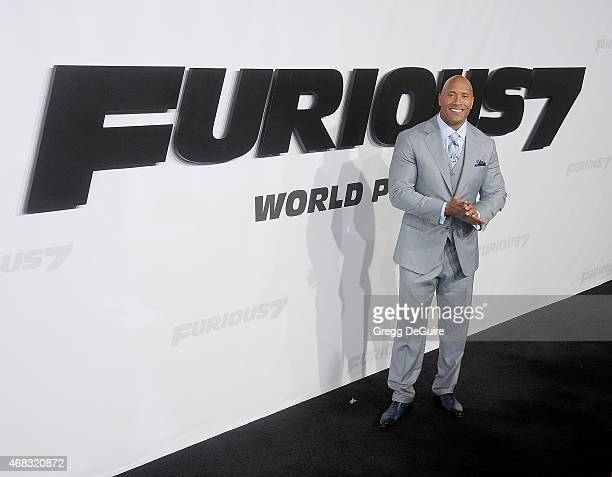 Actor Dwayne Johnson arrives at the Los Angeles premiere of 'Furious 7' at TCL Chinese Theatre IMAX on April 1 2015 in Hollywood California