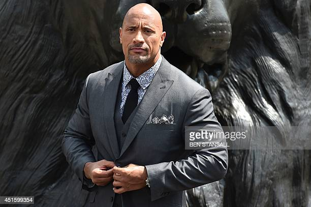 US actor Dwayne Johnson attends a photocall for 'Hercules' in Trafalgar Square in central London on July 2 2014 AFP PHOTO/BEN STANSALL